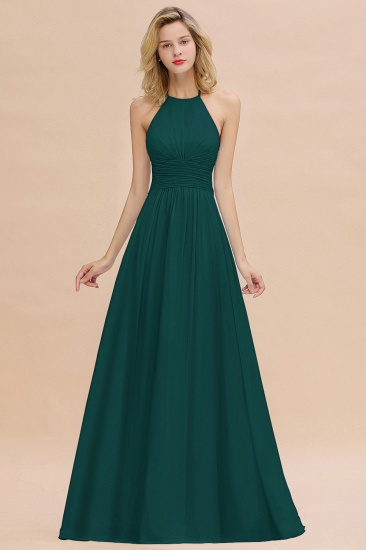 Glamorous Halter Backless Long Affordable Bridesmaid Dresses with Ruffle_33