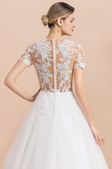 BMbridal Sexy See Through Tulle Appliques Short Sleeves Wedding Dress_9