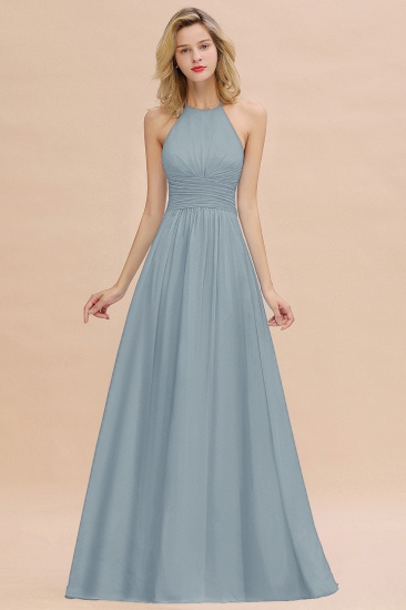 Glamorous Halter Backless Long Affordable Bridesmaid Dresses with Ruffle_40