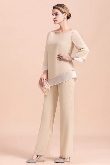 BMbridal Chic Round-Neck Champagne Chiffon Mother of Bride Jumpsuit Online_10