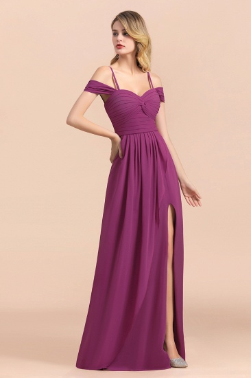 Gorgeous Off-the-Shoulder Ruffle Orchid Bridesmaid Dress Online with Slit_6