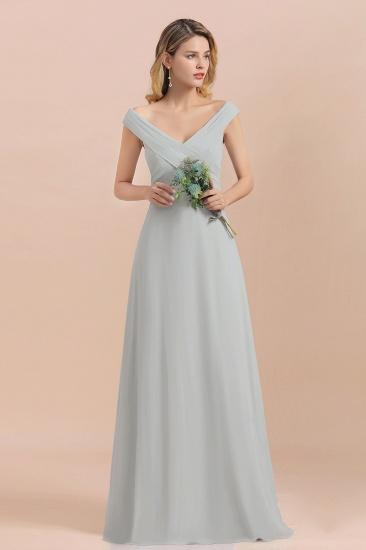 Modest Off-the-Shoulder Mist Chiffon Bridesmaid Dresses with Pleats_4