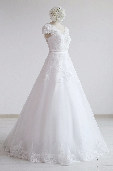 Glamorous Shortsleeves V-neck Lace Wedding Dresses White A-line Tulle Bridal Gowns With Appliques On Sale_4