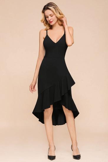 Sexy Black Spaghetti-Strap Short Prom Dress Mermaid Ruffles Homecoming Dress_5