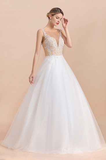 Gorgeous Tulle Lace V-Neck Sleeveless Wedding Dress Online_5