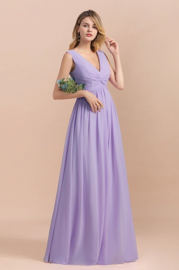 Gorgeous V-Neck Ruffle Lilac Chiffon Affordable Bridesmaid Dress with Ruffle_5