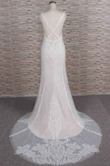 BMbridal Elegant Straps A-line Lace Wedding Dresses White Mermaid V-neck Bridal Gowns On Sale_3