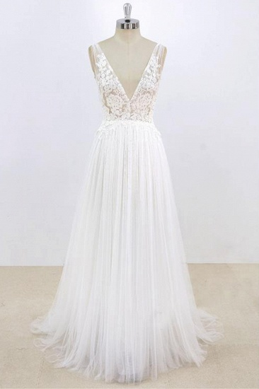 BMbridal Sexy V-neck Sleeveless Straps Wedding Dresses White Tulle Ruffles Lace Bridal Gowns Online_1