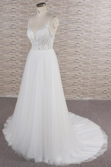 Glamorous V-neck Spaghetti Straps White Wedding Dresses A-line Sleeveless Tulle Lace Bridal Gowns Online_4