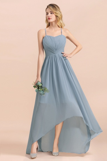 Gorgeous Hi-Lo Heart-Shaped Ruffle Bridesmaid Dress with Spaghetti Straps_9