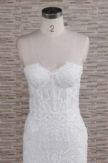 Chic Sweetheart Mermaid Lace Wedding Dresses White Sleeveless Bridal Gowns With Appliques On Sale_5