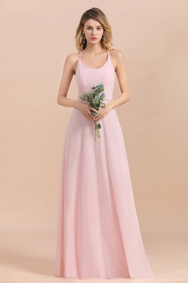 Chic Spaghetti Straps Chiffon Pink Bridesmaid Dresses with Crisscross Back_4