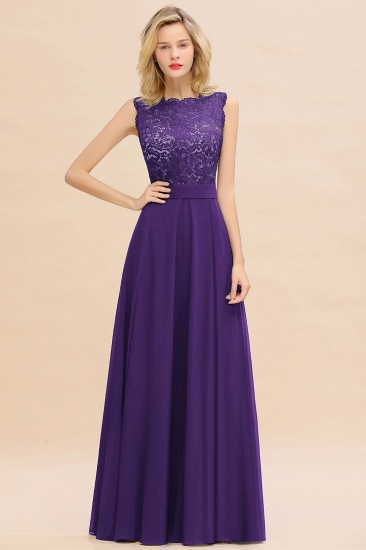 Exquisite Scoop Chiffon Lace Bridesmaid Dresses with V-Back_19
