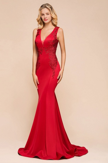 Gorgeous Red Mermaid V-Neck Prom Dress Long With Lace Appliques Online_9