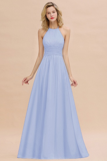 Glamorous Halter Backless Long Affordable Bridesmaid Dresses with Ruffle_22