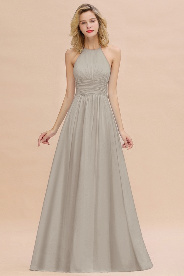 Glamorous Halter Backless Long Affordable Bridesmaid Dresses with Ruffle_30