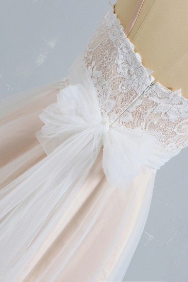 Stylish Spaghetti Straps Sleeveless Lace Wedding Dresses Champgne A-line Ruffles Bridal Gowns On Sale_6