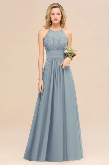 Elegant Halter Ruffles Sleeveless Grape Lace Bridesmaid Dresses Cheap_40