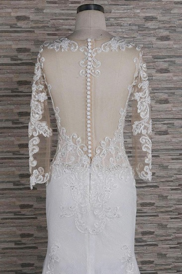 Modest Longsleeves Jewel Lace Wedding Dresses With Appliques White Tulle Bridal Gowns On Sale_5