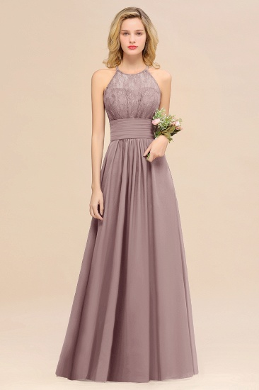 Elegant Halter Ruffles Sleeveless Grape Lace Bridesmaid Dresses Cheap_37
