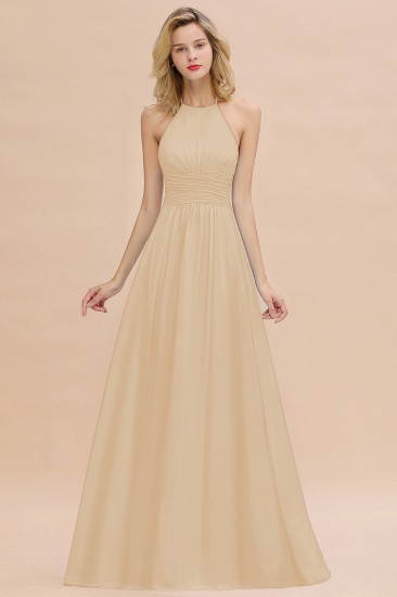 Glamorous Halter Backless Long Affordable Bridesmaid Dresses with Ruffle_14