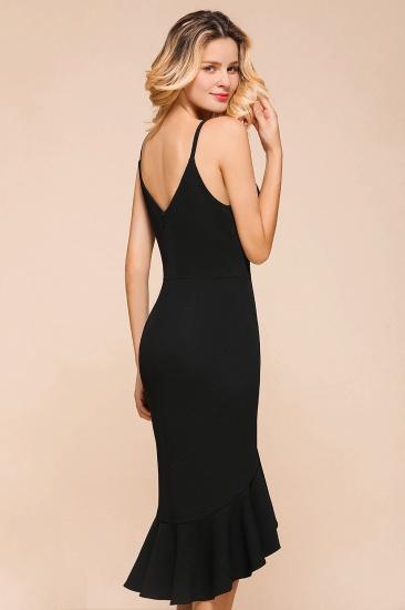 Sexy Black Spaghetti-Strap Short Prom Dress Mermaid Ruffles Homecoming Dress_9