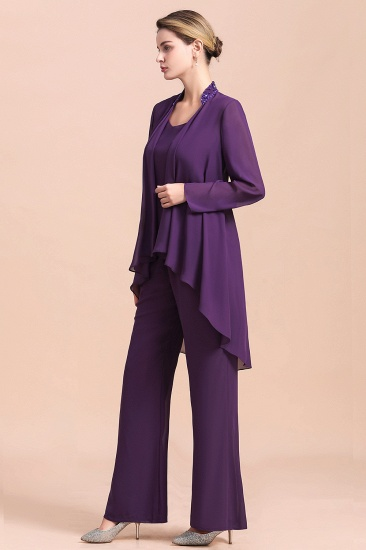 Affordable Straps Beading Grape Chiffon Mother of Bride Jumpsuit Online with Wrap_9