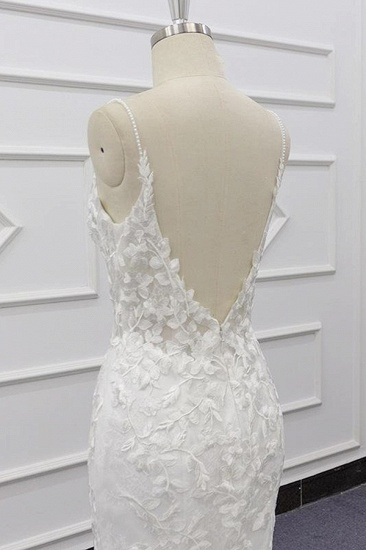 Chic Spaghetti Straps Sleeveless Mermaid Wedding Dresses White Lace Bridal Gowns With Appliques On Sale_8