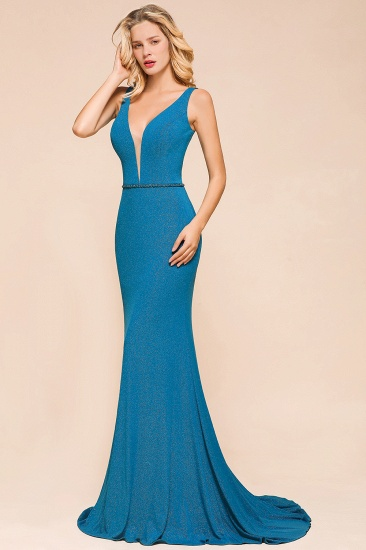 Shinning Blue Mermaid Long Prom Dress V-Neck Sleeveless Long Evening Gowns_8