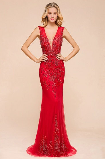 Detachable Red V-Neck Long Prom Dress Sleeveless Beadings Tulle Evening Gowns_4