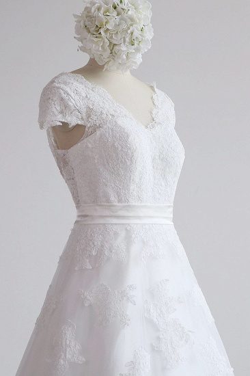 BMbridal Glamorous Shortsleeves V-neck Lace Wedding Dresses White A-line Tulle Bridal Gowns With Appliques On Sale_6