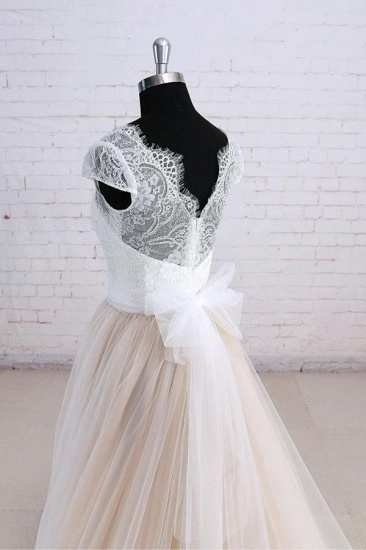 Affordable Shortsleeves Straps V-neck Wedding Dress Tulle Ruffles Bridal Gowns On Sale_5
