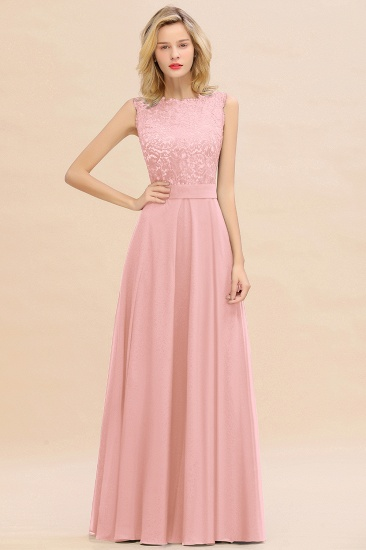 Exquisite Scoop Chiffon Lace Bridesmaid Dresses with V-Back_4