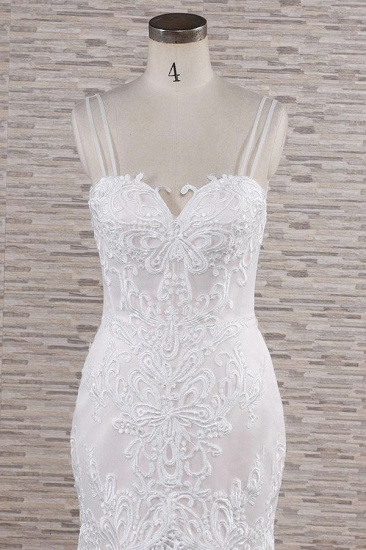 BMbridal Gorgeous Spaghetti Straps Mermaid Wedding Dresses With Appliques Ivory Sleeveless Bridal Gowns Online_5