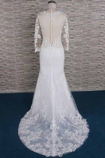 Modest Longsleeves Jewel Lace Wedding Dresses With Appliques White Tulle Bridal Gowns On Sale_3