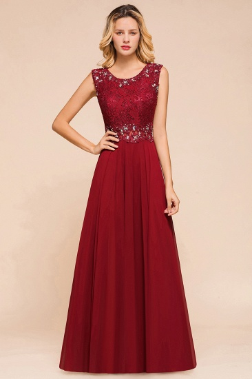 Burgundy Lace Long Prom Dresses Sleeveless Chiffon Evening Gowns With Crystal