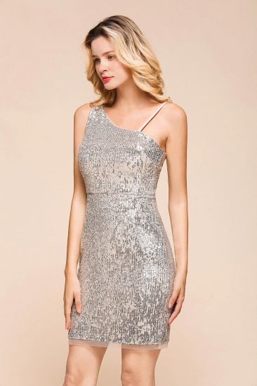 Gorgeous One Shoulder Sequins Short Prom Dress Online_5