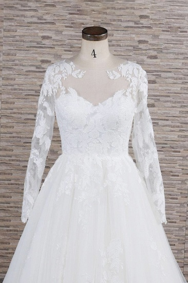 Modest Jewel Longsleeves A-line Wedding Dresses White Tulle Lace Bridal Gowns With Appliques On Sale_5