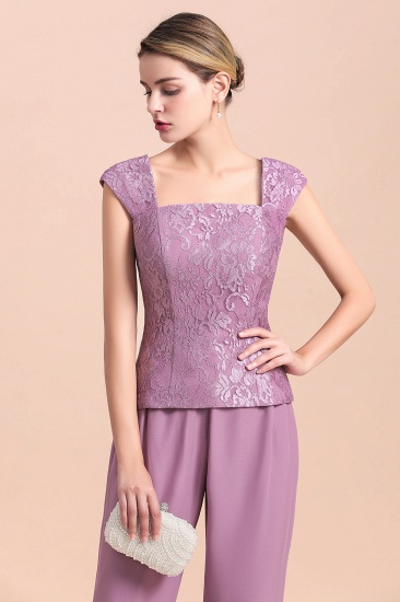 Elegant Cap-Sleeves Lace Chiffon Affordable Mother of Bride Jumpsuit Online with Wrap_10