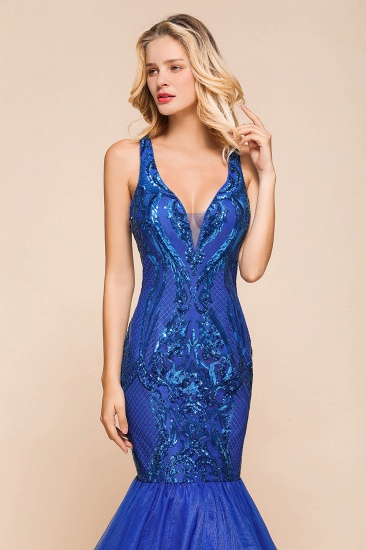 Gorgeous Royal Blue Mermaid Prom Dress Long Sequins Evening Party Gowns Online_6