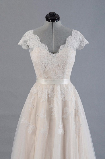 Affordable V-neck Shortsleeves A-line Wedding Dresses Champgne Tulle Lace Bridal Gowns On Sale_4