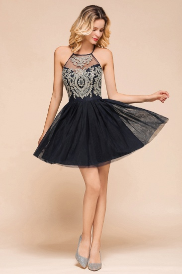Lovely Halter Tulle Short Prom Dress Lace Appliques Homecoming Dress Online_8