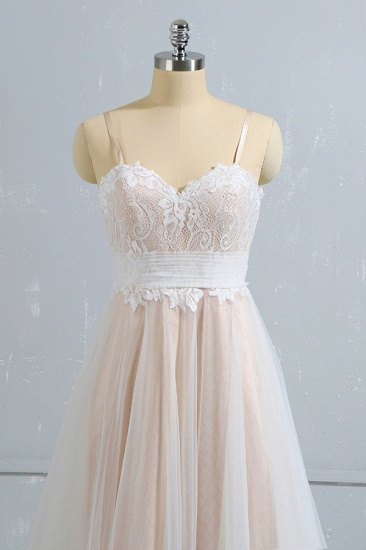 Stylish Spaghetti Straps Sleeveless Lace Wedding Dresses Champgne A-line Ruffles Bridal Gowns On Sale_4