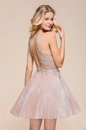 BMbridal Lovely Halter Lace Short Prom Dress Sleeveless Mini Party Gowns_8