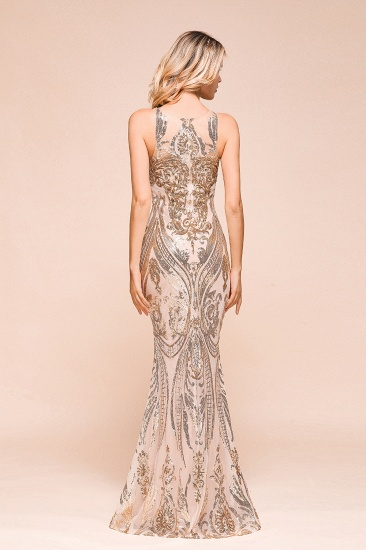 BMbridal Gorgeous Champagne Sequins Mermaid Prom Dress Long Evening Gowns Online_3