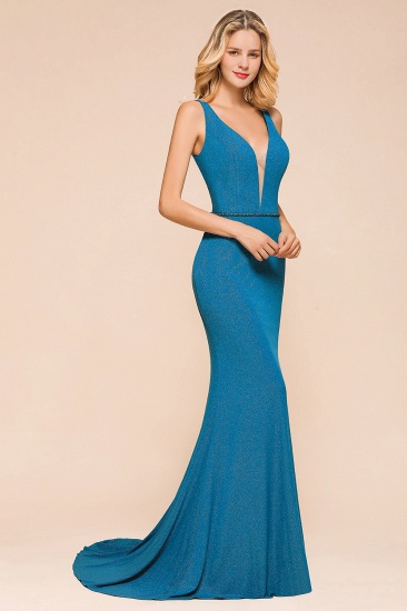 Shinning Blue Mermaid Long Prom Dress V-Neck Sleeveless Long Evening Gowns_6