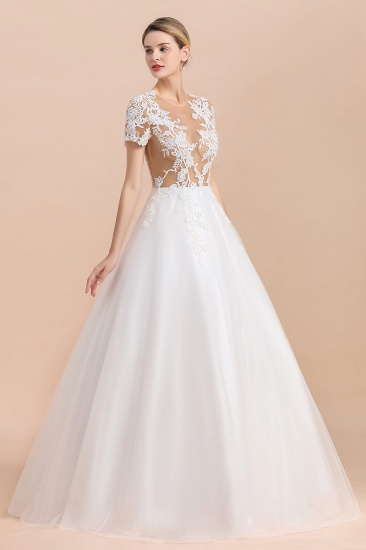 BMbridal Sexy See Through Tulle Appliques Short Sleeves Wedding Dress_7