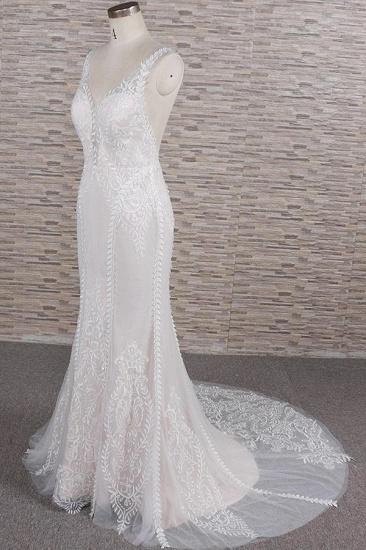 BMbridal Elegant Straps A-line Lace Wedding Dresses White Mermaid V-neck Bridal Gowns On Sale_4