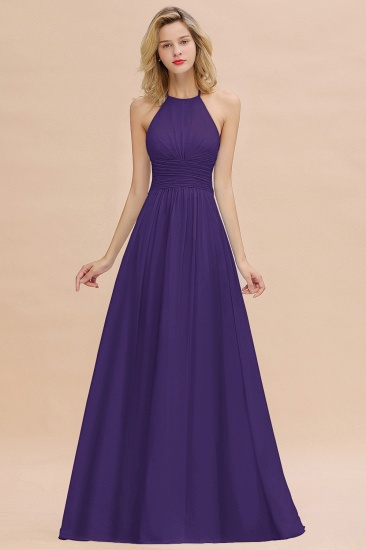 Glamorous Halter Backless Long Affordable Bridesmaid Dresses with Ruffle_19