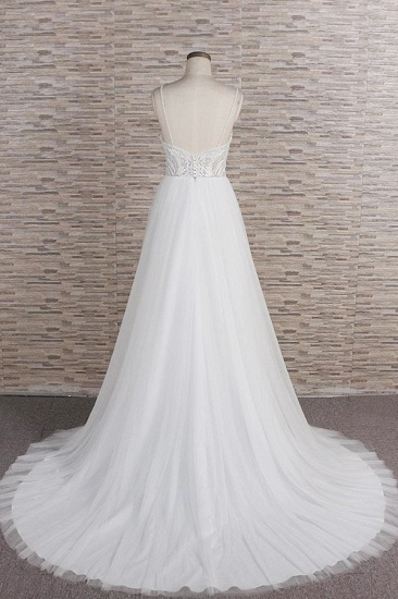 Glamorous V-neck Spaghetti Straps White Wedding Dresses A-line Sleeveless Tulle Lace Bridal Gowns Online_3